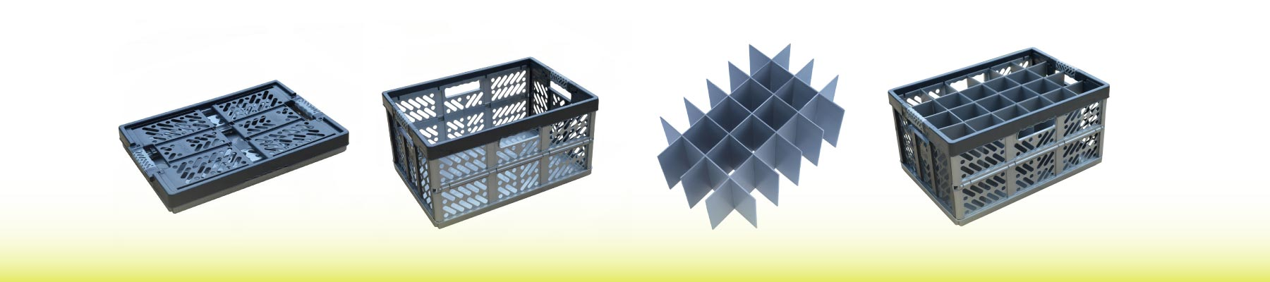 Folding Crate, Collapsible Storage Box, Glassware Storage, Hampshire